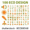 100 eco design icons, vector - stock vector