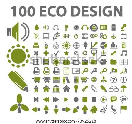 100 eco design icons, vector - stock vector