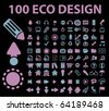 100 eco design signs. vector - stock photo