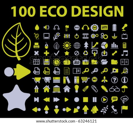 100 eco design signs. vector - stock vector