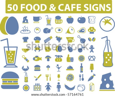 50 eco food & cafe signs. vector