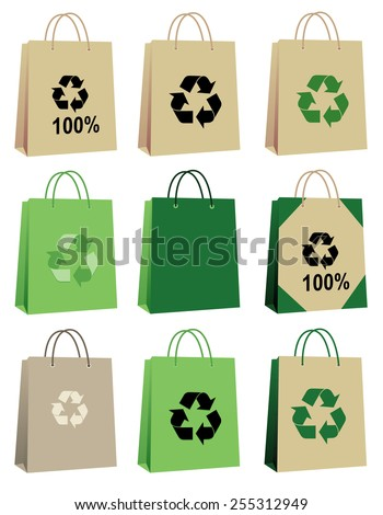 100% eco friendly cardboard bag collection isolated on white background - stock vector