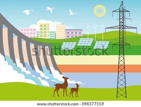Eco-friendly forms of energy. Electric, water, solar, wind energy. Hydroelectric dams, power line, solar panels, wind turbines on the background of houses and nature with deer and flying birds. - stock vector