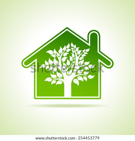 Eco home icon with tree. vector illustration - stock vector