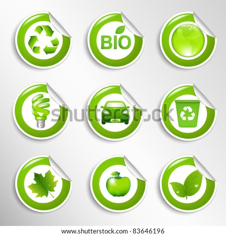 9 Eco Labels, Vector Illustration - stock vector