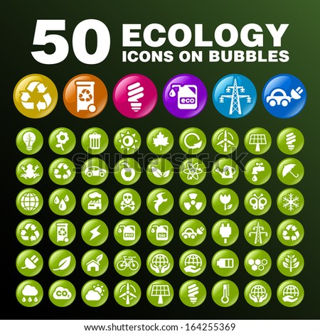 50 Ecology Icons on Bubbles. - stock vector