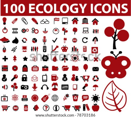 100 ecology icons, signs, vector illustrations - stock vector