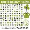 100 ecology icons, vector - stock photo