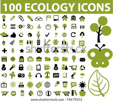 100 ecology icons, vector - stock vector