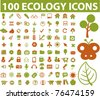 100 ecology & nature icons, signs, vector illustration - stock vector