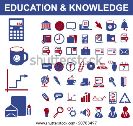 50 Education and Knowledge Signs - stock vector