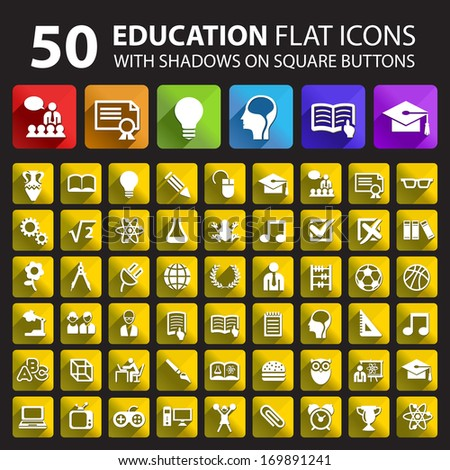 50 Education Flat Icons with Shadows on Square Buttons.  - stock vector