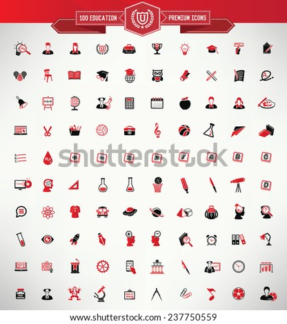 100 Education icon set,Red version,clean vector - stock vector