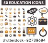 50 education icons, signs, vector illustrations - stock photo