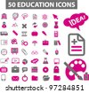50 education icons, vector - stock vector