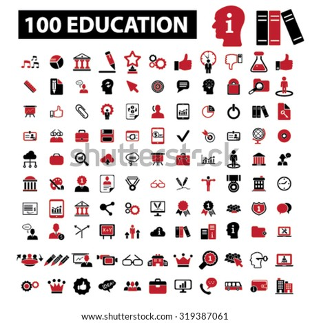 100 education, learning, study, school, science icons - stock vector