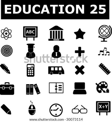 25 education signs. black series. vector. see more in my portfolio