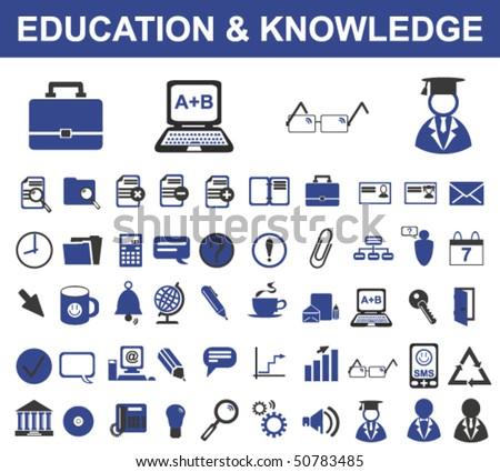 50 Education Signs (Vector) - stock vector