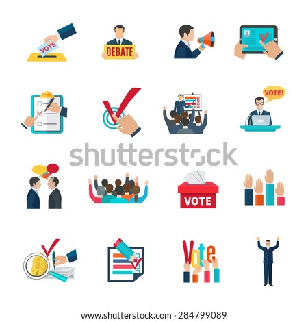 Elections with voting debates and agitation icons set flat isolated vector illustration  - stock vector