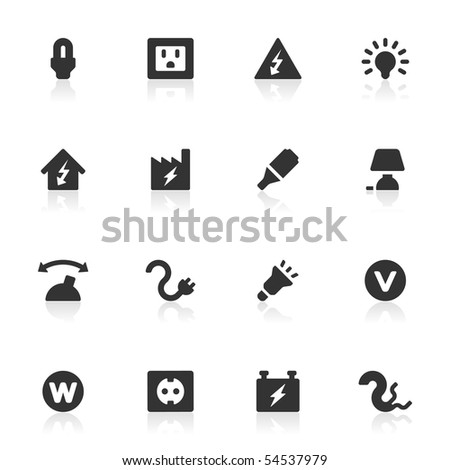 16 electricity icons with reflections. - stock vector