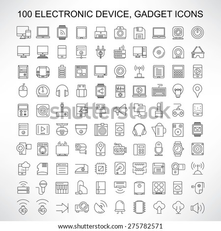 100 electronic device icons, gadget, computer, smart phone, tablet, camera, smart watch, and network icons, thin line icons - stock vector