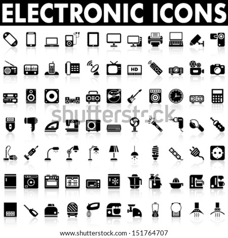 Electronic Devices Home Appliances Icons Stock Vector Royalty Free