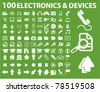100 electronics & devices icons, signs, vector illustrations - stock vector