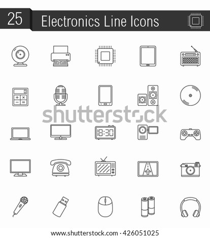 25 Electronics line icons, vector eps10 illustration