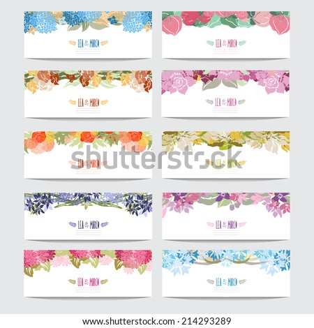 10 elegant cards with floral bouquets, design elements. Can be used for wedding, baby shower, mothers day, valentines day, birthday cards, invitations. Vintage decorative flowers. - stock vector