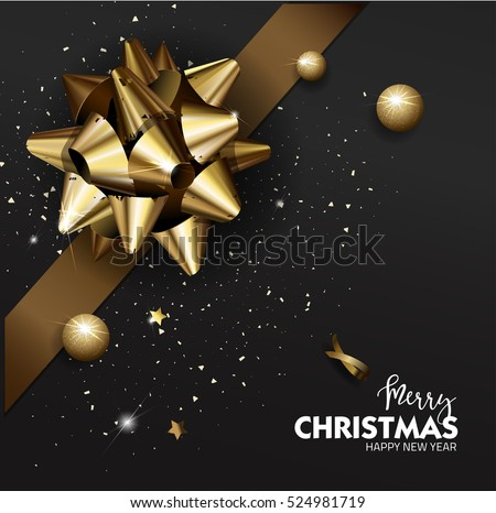 Christmas Elegant Merry Christmas or Happy New Year background with Christmas gold bow. Christmas Vector Illustration.