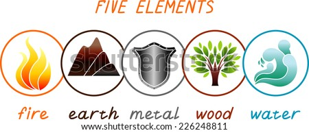 5 elements - stock vector