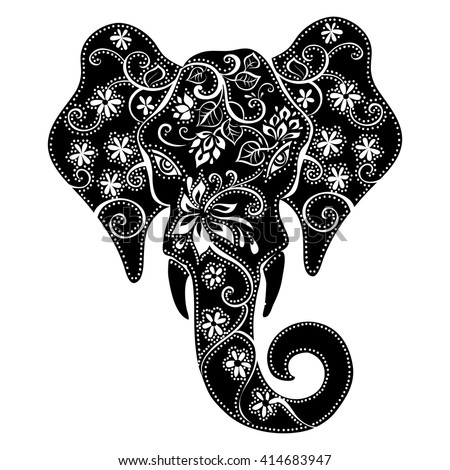 Elephant Mask Silhouette Elephant Indian Elephant Stock ...