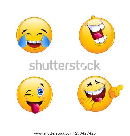 4 Emoji Smiley Faces - stock vector