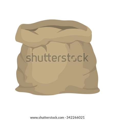 Empty burlap sack. Empty bag. Bag made of cloth. Beige Bag on  white background. - stock vector