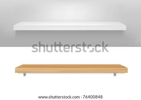 2 Empty Shelf, Vector Illustration - stock vector