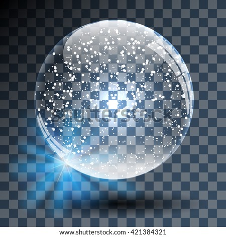Empty Snowy Glass Ball on Transparent Background. Vector Illustration. - stock vector