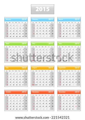 2015 english calendar. Weeks starting from sundays. Vector illustration. - stock vector