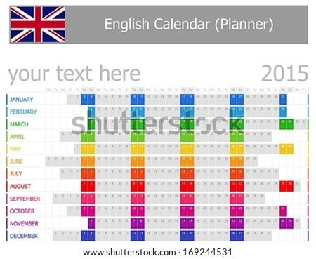 2015 English Planner Calendar with Horizontal Months on white background - stock vector