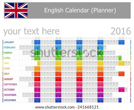 2016 English Planner Calendar with Horizontal Months on white background  - stock vector