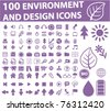 100 environment & design icons, vector - stock vector