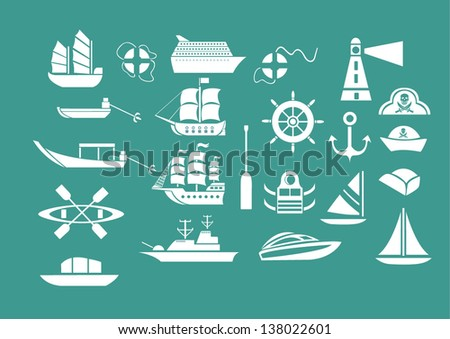 [EPS10] Vector Set: Graphic Icons set: Ship and boat icons - stock vector