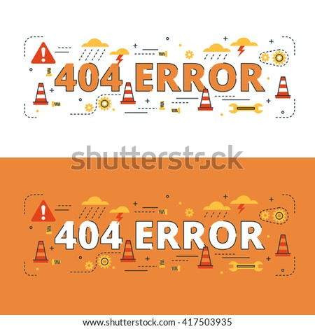 404 Error lettering flat line design with icons and elements for book cover, report header, presentation,illustration, infographics, printing, website banner and landing page.