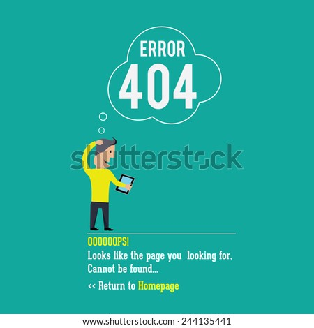 404 error page. Vector illustration.  - stock vector
