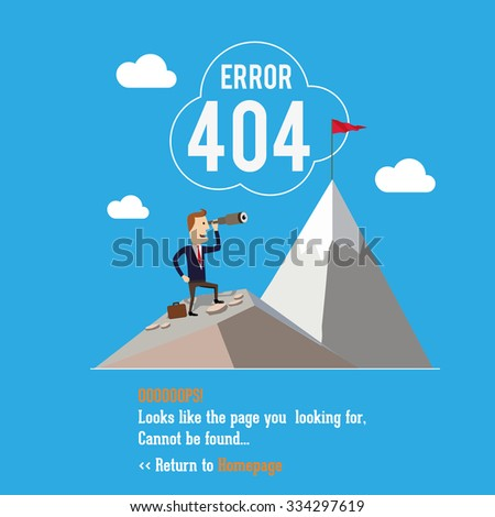 404 error page. Vector illustration. Businessman standing using telescope. - stock vector