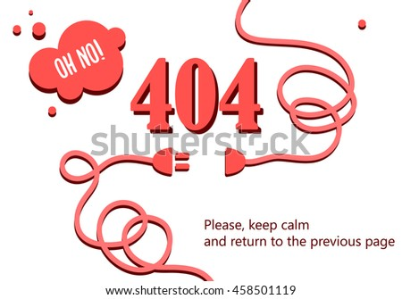 """404 error page vector template for website. Electricity cable with disconnected plug. Text message """"Return to the previous page"""". - stock vector"""