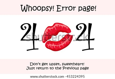 404 error page vector template for website. Female kissing lips imprint. Bright red kiss design with details and overtones. Text warning message 404 page not found. - stock vector