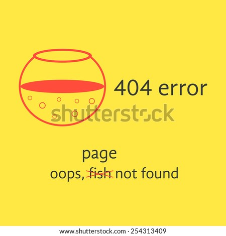 404 error with red empty aquarium. concept of page not found, under construction, http, error message, server response. isolated on yellow background. flat style modern logo design vector illustration - stock vector
