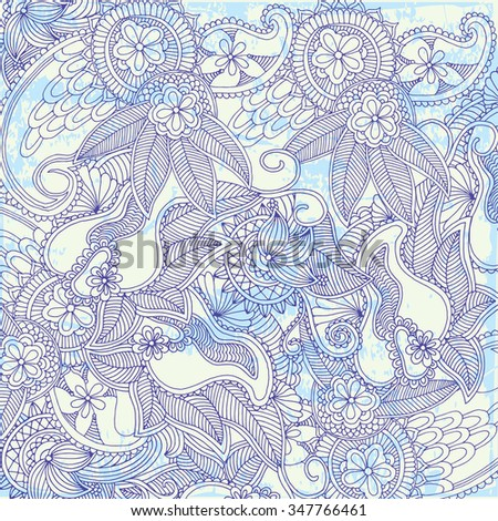 Ethnic floral retro doodle grunge background pattern in vector. Henna paisley mehndi doodles design tribal pattern.  - stock vector