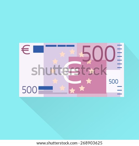 500 Euro Banknote Flat Design with Shadow Vector Illustration - stock vector