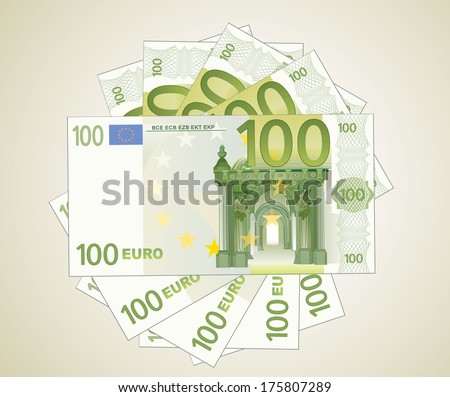 100 Euro bills  - stock vector